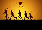 Niños volar una cometa — Vector de stock