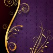Vector de stock : Golden floral purple background
