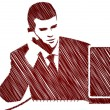 Businessman silhouette and phone call — Vektorgrafik