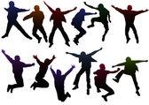 çocuk siluetleri atlama — Stok Vektör
