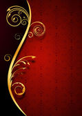 Fondo rojo floral dorado — Vector de stock