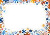 Fond de flocons de neige bleu orange — Vecteur