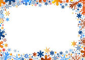Orange blue snowflakes background — Stock Vector