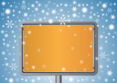 Metal signboard under snowflakes — Stock Vector