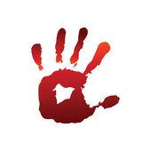 Kırmızı el izi — Stockvector