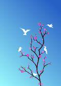 Kuşlar ağaçta — Stock Vector