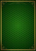 Köşe desenleri yeşil duvar kağıdında — Stock Vector