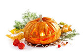 Glowing Halloween Pumpkin on isolated white background — Stock Photo