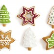 Christmas Ginger cookies on isolated white background — Stock Photo