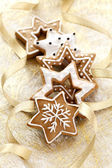 Christmas card background with Ginger cookies — Stock Photo