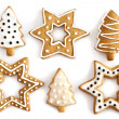 Christmas Ginger cookies on isolated white background — Stock Photo #13647666