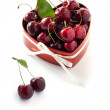 Sweet Cherries in the heart shaped box for Valentine — Stock Photo #17081295