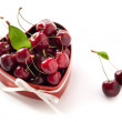 Sweet Cherries in the heart shaped box for Valentine — Stock Photo #17081427