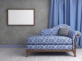 3D interior scene with classic armchair — Stock Photo