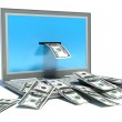 Making money online - withdrawing dollars from laptop — Stock Photo #41379991