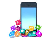 Smartphone with color application icons — Stock Photo