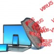 Laptop with shield - internet security, antivirus or firewall — 图库照片