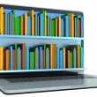 Digital library - books and computer — Stock Photo