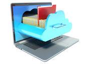 Ordinateur portable et le dossier. technologie Cloud — Photo