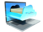 Laptop and folder. cloud technology — Stock Photo