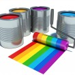 Cans with color paint, roller brush with rainbow — Stock Photo