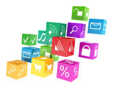 Mobile applications software, wireless downloading communication internet web business concept — Stock Photo