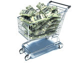 Shopping cart with dollar note. Waste of money — Stock Photo