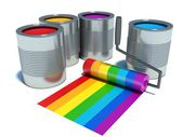 Cans with color paint, roller brush with rainbow — 图库照片
