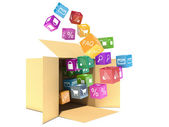 Creative abstract mobile applications software and wireless comm — Stock Photo