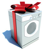 Washer and red tape. gift — Stock Photo