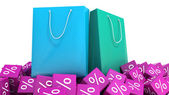 Shopping bags and discounts — Stock Photo