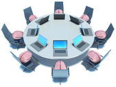 Concept of brainstorm. Circle table, brain and armchairs — Stock Photo