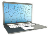 Laptop with cracked screen on white — Stock Photo