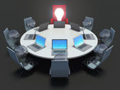 Concept of business meeting or brainstorming. bulbs on chairs. B — ストック写真