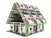 Bank. House from pack of dollar — Stock Photo