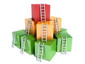 Resumen de progreso de negocio, desarrollo, éxito, liderazgo y — Foto de Stock