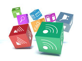 Mobile applications software, wireless downloading communication — Stock Photo