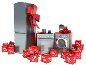 Home appliance with ribbons and discounts — 图库照片
