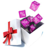 Discounts on gift. On a white background — Stock Photo