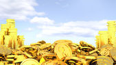 Gold coins on the background of sky. easy Money — Stock Photo