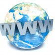 Text WWW on 3d earth — Stock Photo #50847627