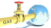 Gas pipe attached to the planet earth — Stock Photo
