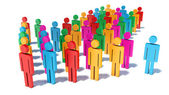 Color people figures in arrow form moving on their way — Stock Photo