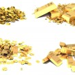 Gold set. Golden Bars, Coins and Golden Pieces isolated on white — Stok fotoğraf #51628987