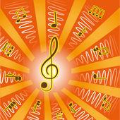 Notas y music.treble clave — Vector de stock