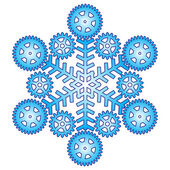 Decorative abstract snowflake with gear. — Stock Vector