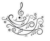 Musical notes. Ornament with swirls on white background. — Stock Vector