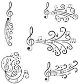 Music. Treble clef and notes for your design. — Stock Vector