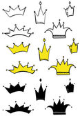 Vector illustration of different crowns — Stock Vector