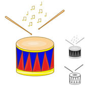 Drum and drumsticks on white isolated background. — Stock Vector